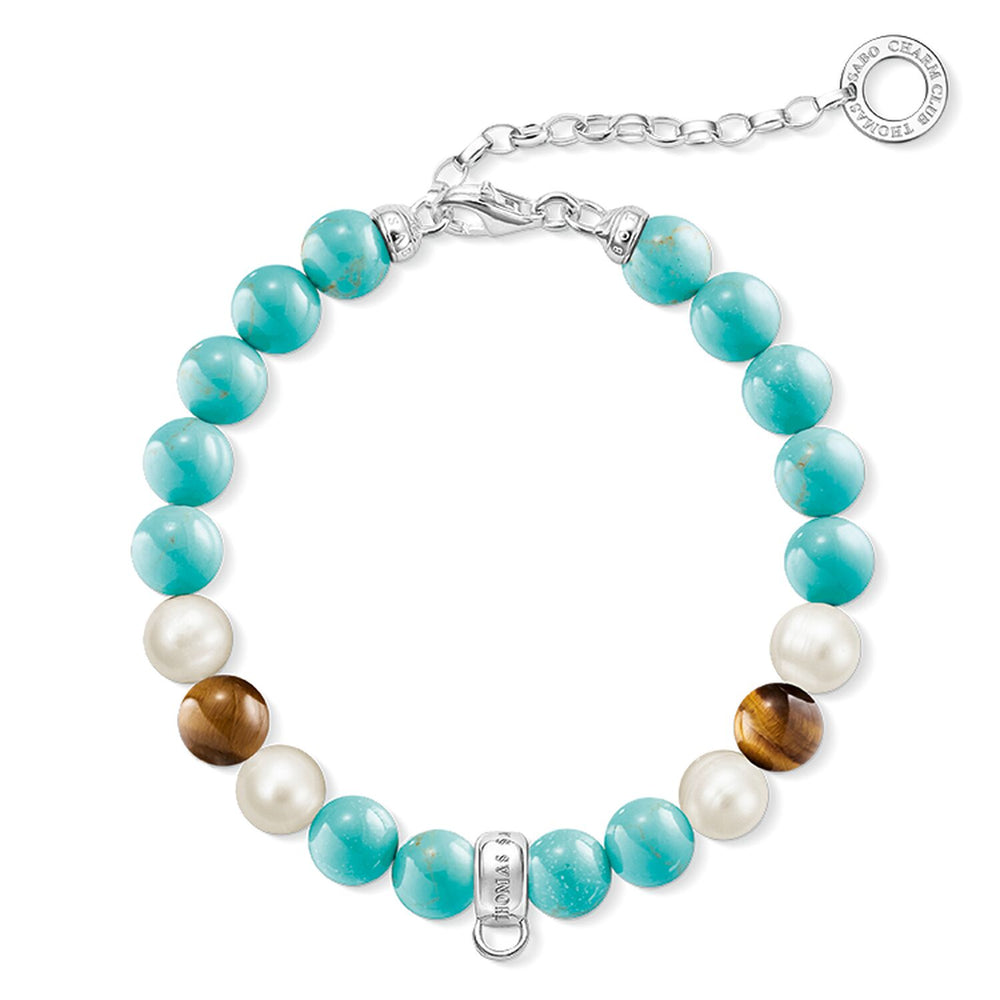 "Charm Bracelet ""Turquoise, Brown, White"""