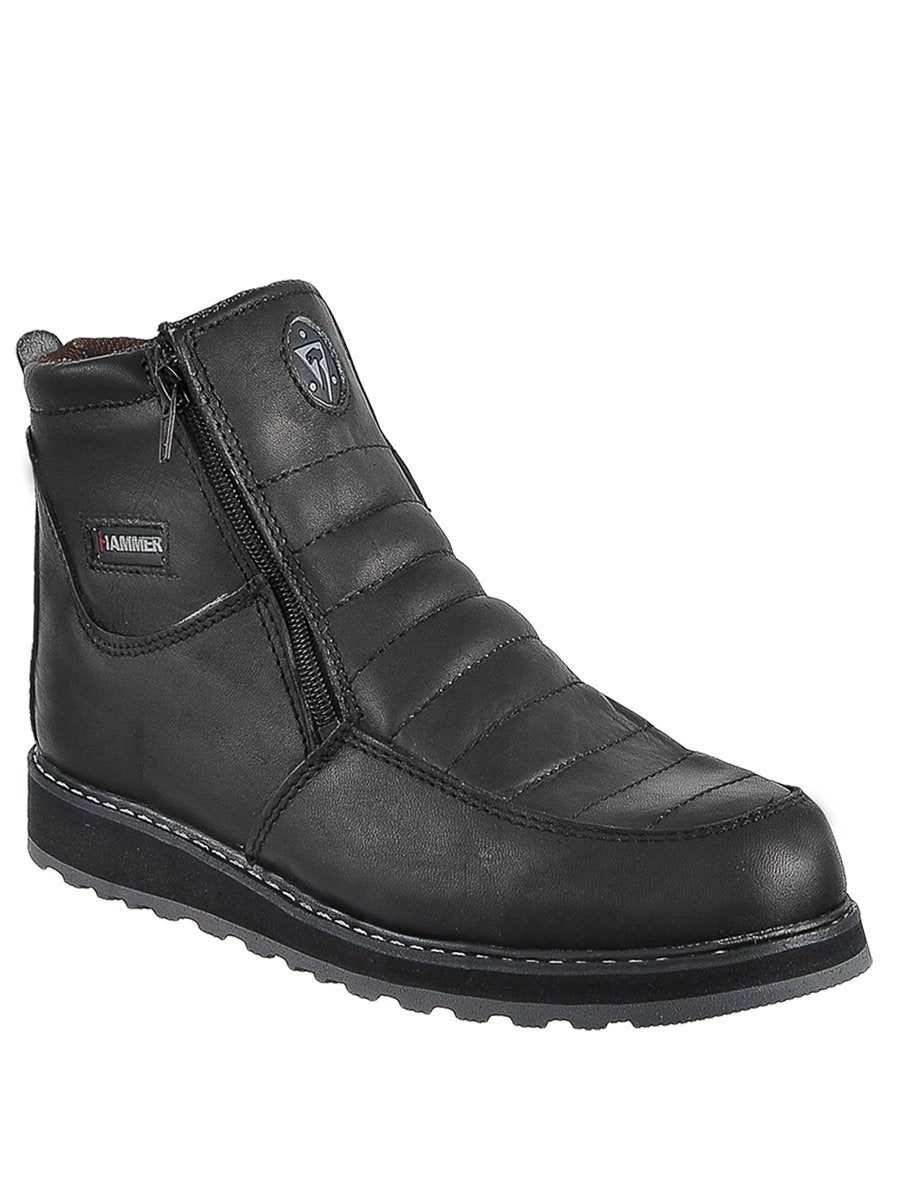 HM339 Negro Hammer Short Boots Zipper, Double Density