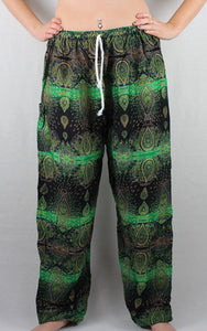 -Green- Peacock Paisley Drawstring Unisex Pants