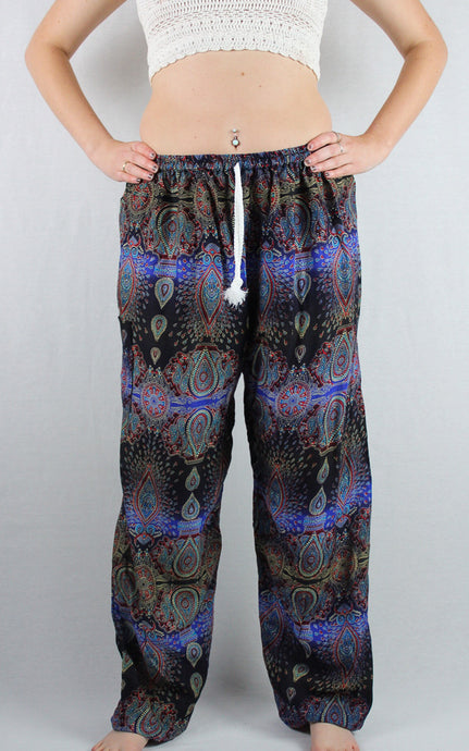 -Blue & Black- Peacock Drawstring Pants