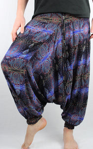 -Black & Blue- Peacock Unisex Harem Pants