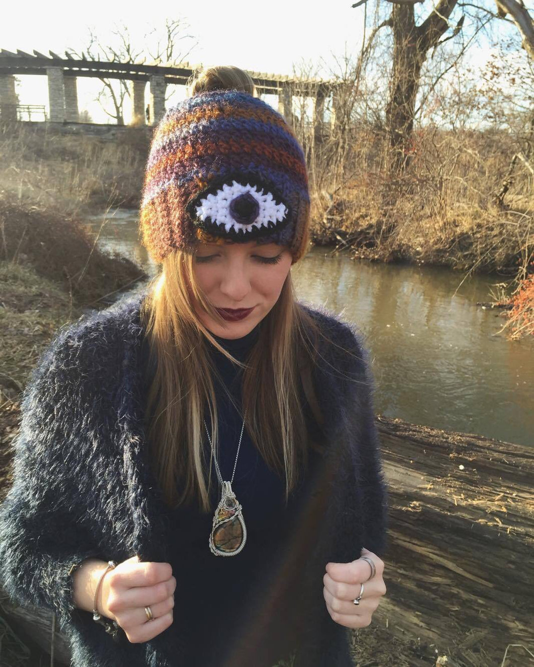 Third Eye Bun Beanie -Gold&Purple-