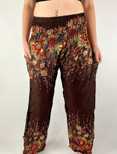 -Brown- Floral Unisex Pants