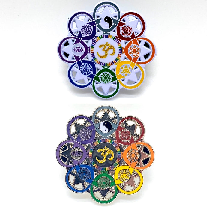 White or Silver Ohm Chakra Hat Pin