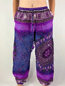 -Purple- Burst Drawstring Unisex Pants