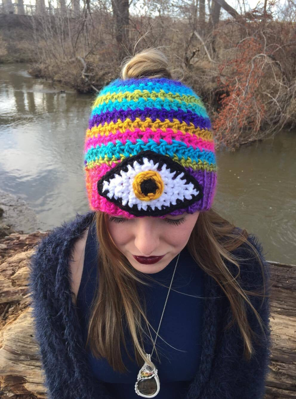 Third Eye Bun Beanie -Rainbow-