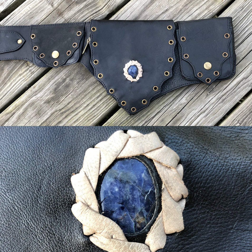 Lapis Crystal Belt -black-