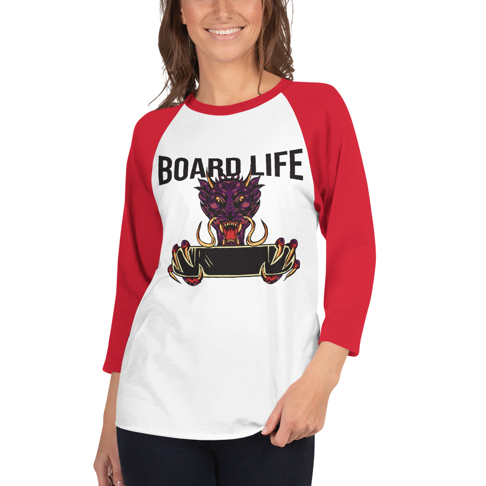 Board Life Dragon 3/4 sleeve raglan shirt