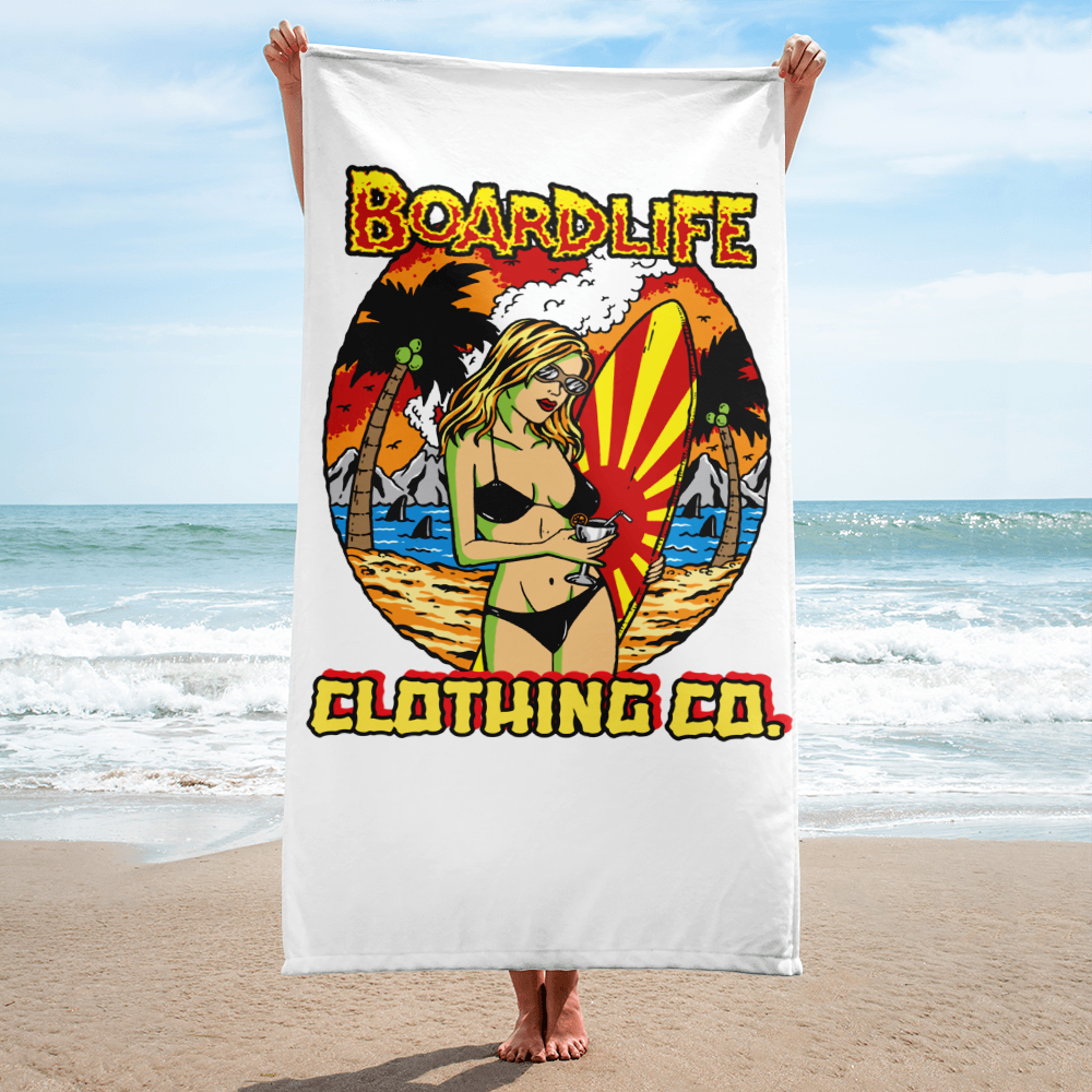 Board Life Island Fever Beach Towel