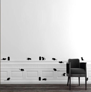 Funny Rats and Holes on walls or Stairs decals stickers