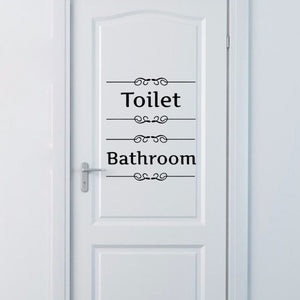 Vintage Bathroom or Toilet Door Decal Quote for home decor - wall decals home decor