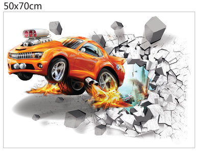 3D Car breaking out of wall for children wall decal - wall decals home decor
