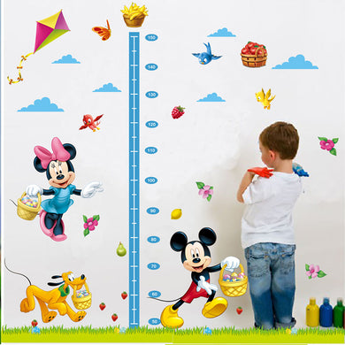 Minnie and Mickey mouse height ruler wall decal for kids room - wall decals home decor