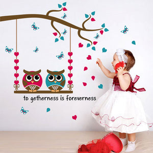 Cartoon Owl Birds Branch Removable Kids Decor Mural Wall Stickers Decal - wall decals home decor