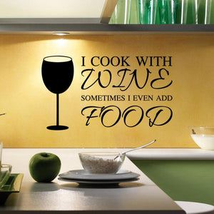 I cook with wine Wall Sticker decal for kitchen decor - wall decals home decor