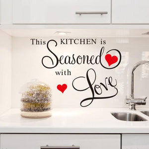 This kitchen is seasoned with Love wall sticker decal - wall decals home decor