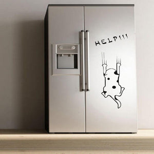 Funny Cat falling Refrigerator Help Sticker decal for kitchen decor - wall decals home decor
