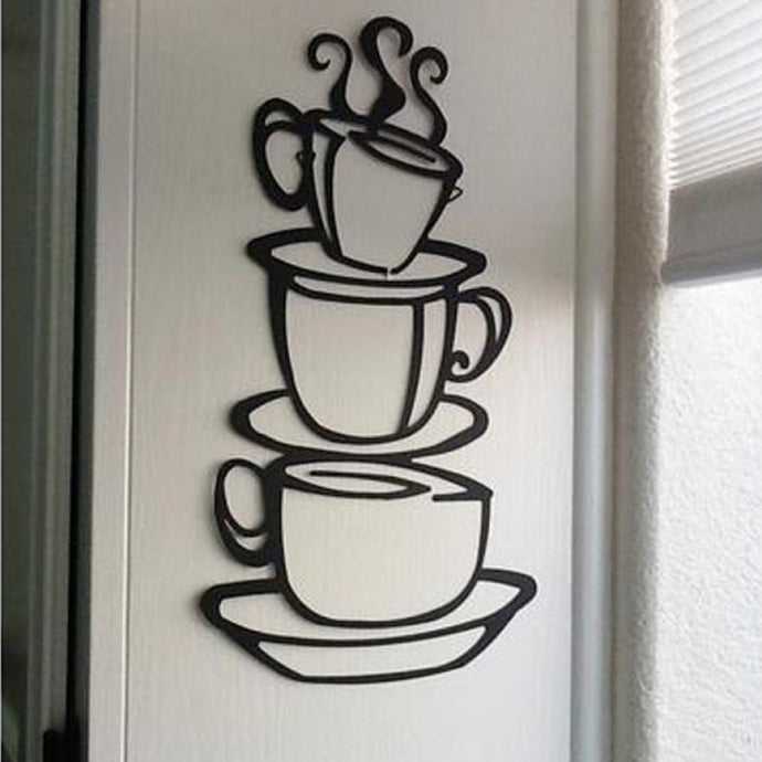 3 Coffee Cups on top of each others wall decal for kitchen - wall decals home decor