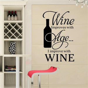 Wine improves with Age Wall Sticker decal - wall decals home decor