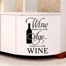 Wine improves with Age - I improve with Wine Wall decal - wall decals home decor