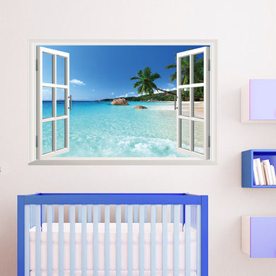 3D Beach resort Window View Removable Wall Sticker Vinyl Decal - wall decals home decor