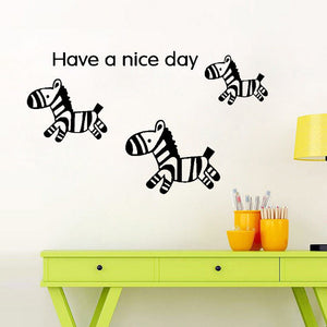 3 cute Zebras quote Have a Nice Day Wal decal for kids bedroom - wall decals home decor