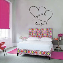 I love you quote with hearts wall decal for home decor - wall decals home decor