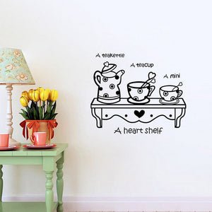 Shelf with hearts tea cups for Kitchen Removable Wall Decal - wall decals home decor