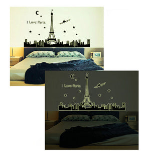 Paris Eiffel Tower Night I love Paris Wall Sticker Vinyl Decal Decoration glow in the dark - wall decals home decor