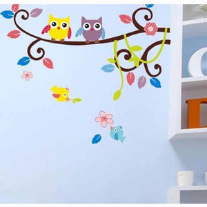 Two Lovely Owls on colourful branch Wall Stickers decals - wall decals home decor