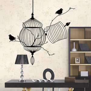Branches in a Birdcage with 2 Birds Wall Art Sticker Decal - wall decals home decor
