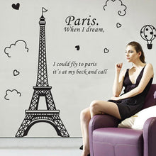 Paris when I dream Eiffel Tower Removable Vinyl Art Decal Wall Sticker - wall decals home decor
