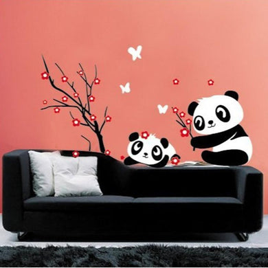 2 Cute Pandas playing with Bamboo wall decal - wall decals home decor