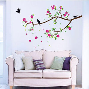 Flowers And Birds Wall Stickers Decal Removable Art - wall decals home decor