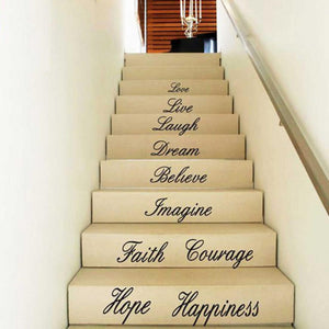 Love Live Hope Laugh Wall Quote Decal for stairs of living room decor - wall decals home decor