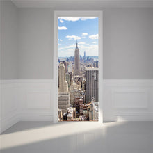 3D New York scene on door Wall Sticker Decal Poster - wall decals home decor