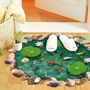 3D Fish Ponds floor Stickers Decal for home decor - wall decals home decor