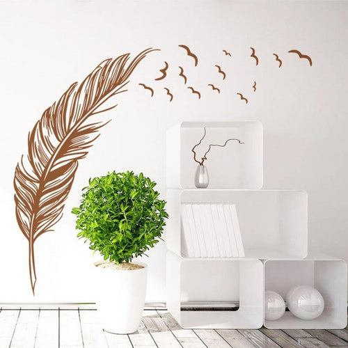 Large Feather and birds artistic wall sticker decal for home decor - wall decals home decor