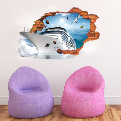 3D Boat coming out of your wall - Wall Decal - wall decals home decor