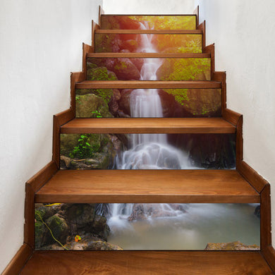 3D Stunning water falls stairs riser with nature decal - wall decals home decor