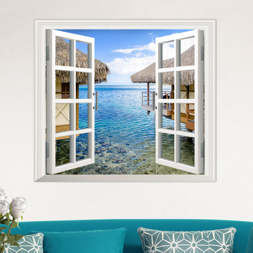 3D Beautiful Window huts Sea View Wall Decal - wall decals home decor
