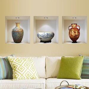 3D 3 X Vases under lights Wall Stickers decals - wall decals home decor
