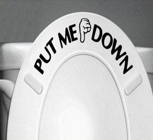 Funny hand Gesture Put toilet seat down Decal Bathroom decor - wall decals home decor