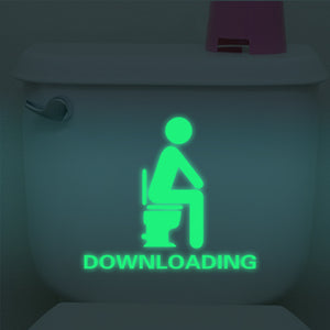 Funny Bathroom downloading glow in the dark Sticker decal - wall decals home decor