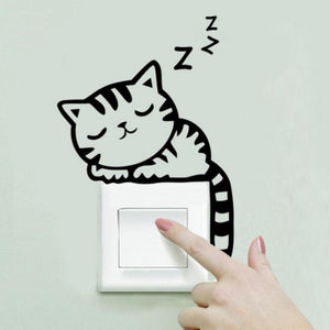 Cat Sleeping on top of light Switch Zzz Wall Sticker decal - wall decals home decor