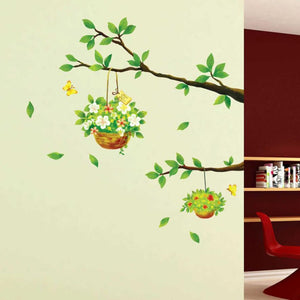 Tree Branches with 2 Flowers Basket Wall Sticker Decal for home decor - wall decals home decor