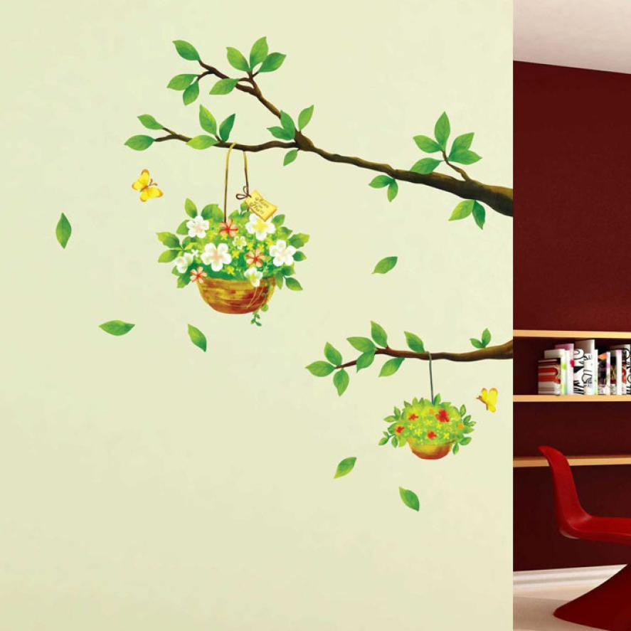 Tree Branches With 2 Flowers Basket Wall Sticker Decal For Home Decor