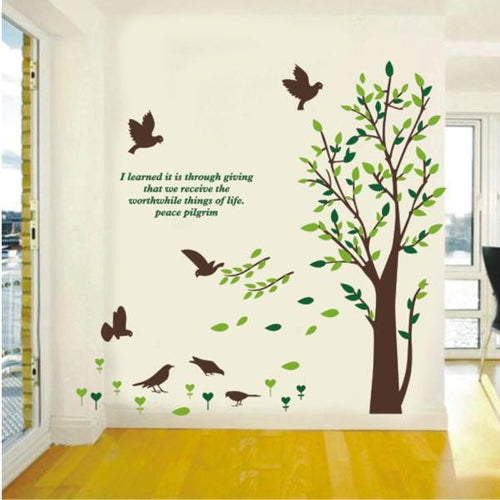 Very Large tree with birds + quote wall decal for home decor - wall decals home decor