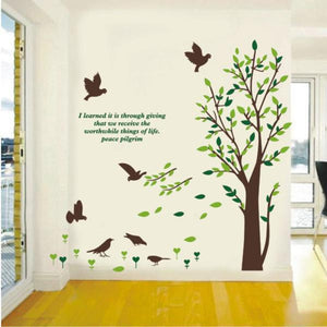 Large tree with birds wall stickers decal - wall decals home decor