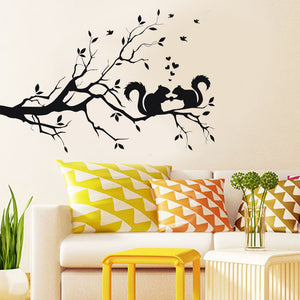 Tree Branches and 2 squirrels in love wall decal for home decor - wall decals home decor